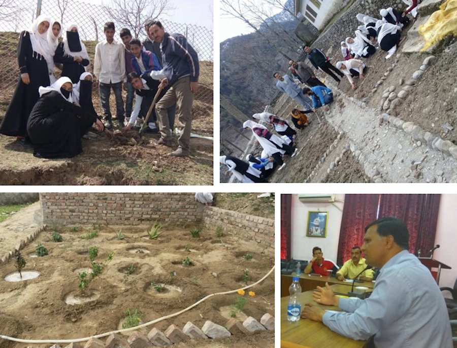 Setting up herbal gardens in Kupwara dist. Kashmir (top left), in Khilotran dist. Doda Jammu (top right), in Kathua dist. Jammu (bottom left); Manzoor Javaid (bottom right)