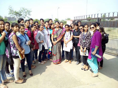 Sreemoyee Chatterjee with students during a site visit to a Waste Water treatment plant near Jaipur