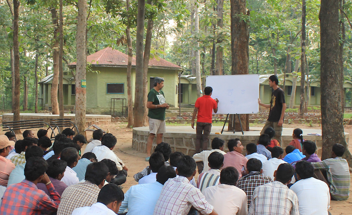 An outdoor classroom at the Pench Tiger Reserve.