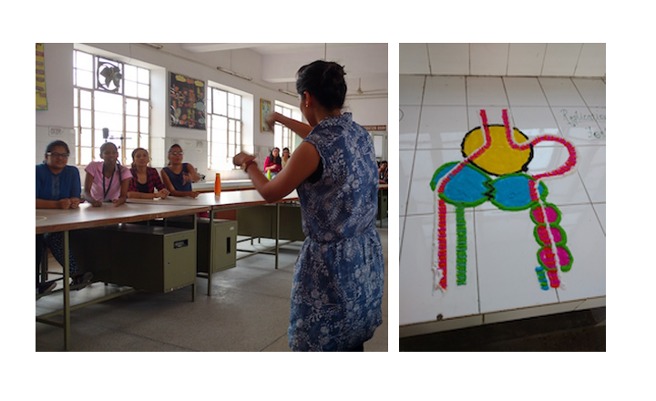 Students playing Charades to review key  concepts (left) ;Rangoli illustrating DNA replication (right)