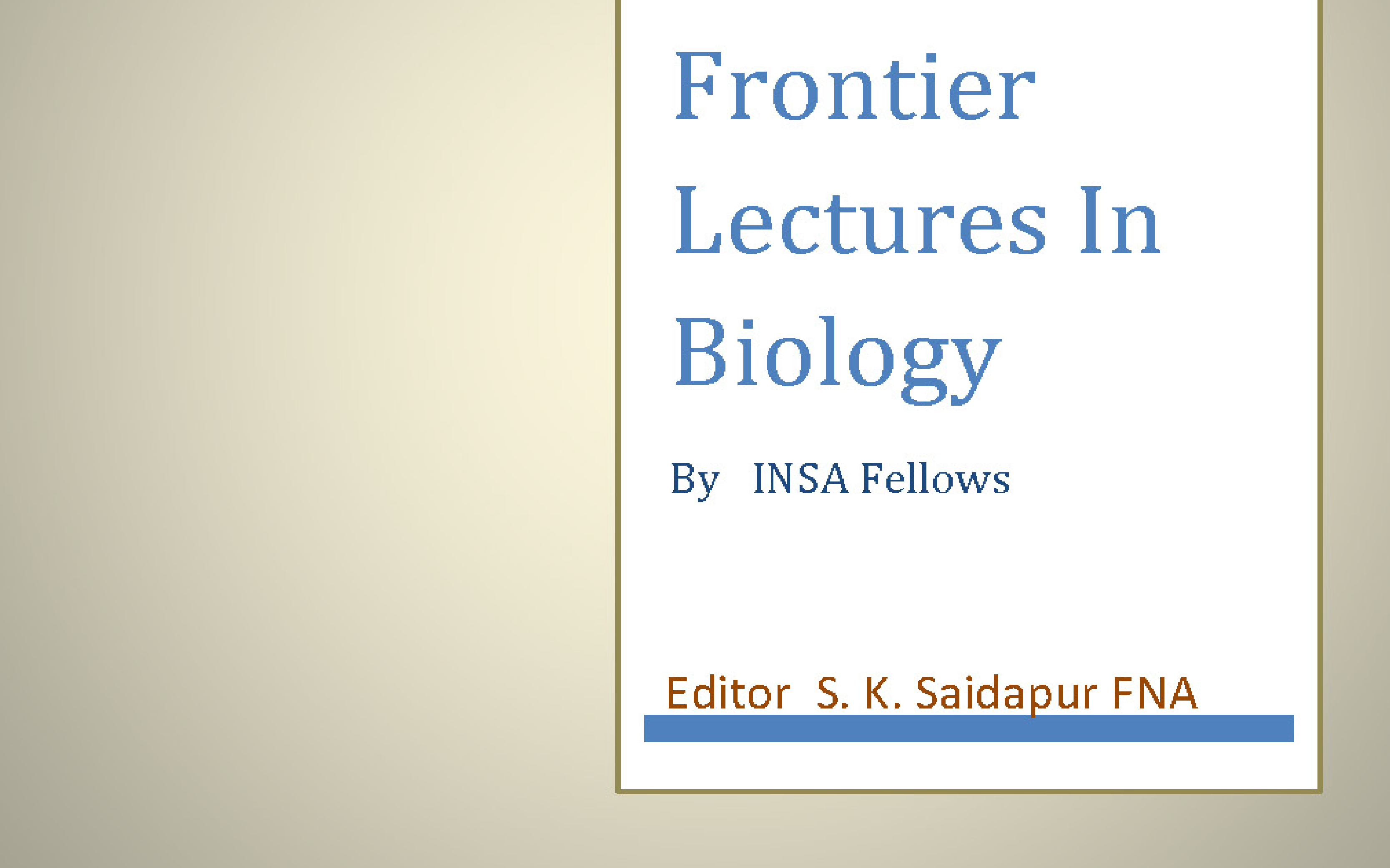 Frontier Lectures In Biology Cover