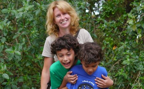 Kim R McConkey with her children