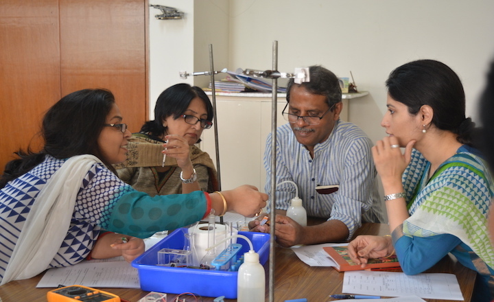 Burma interacting with school science teachers