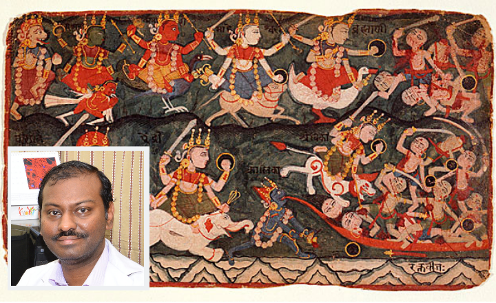 An 18th century painting depicting the demon Rakthabeeja; inset: Aravindhan Vivekanandhan