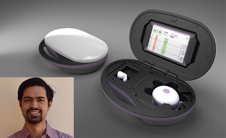 Sattva MedTech's device for monitoring fetal heart rate. Bottom left: Sumedh Kaulgud