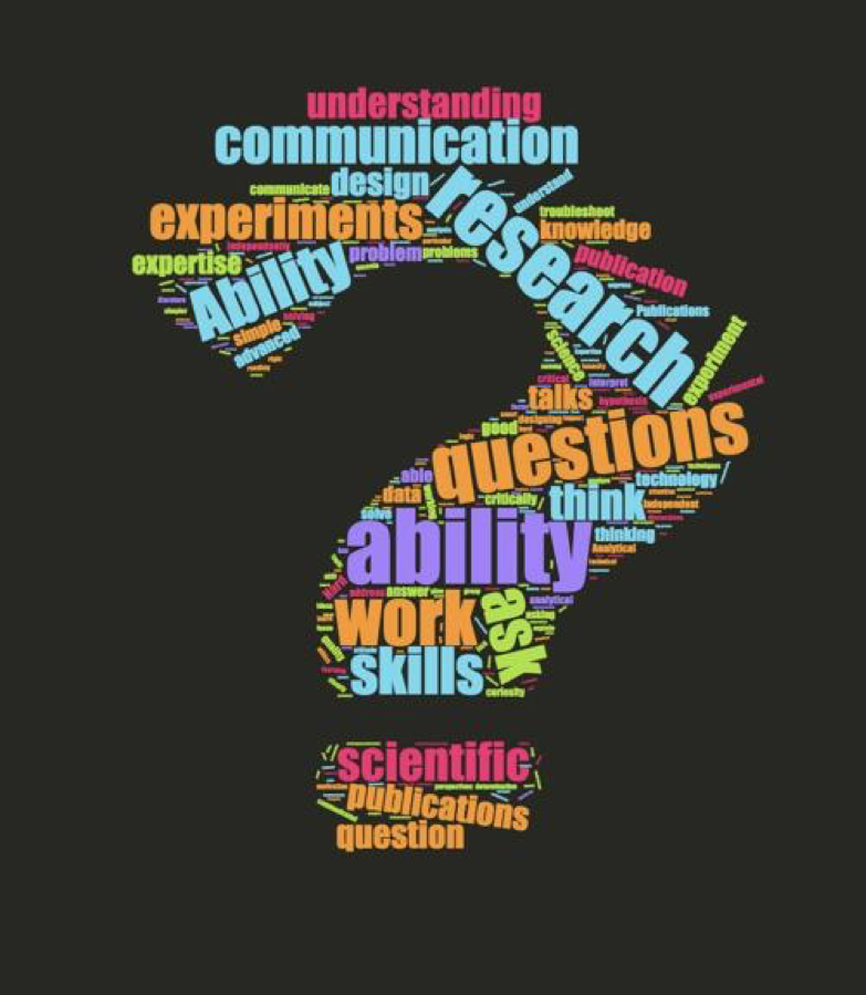 "Word-cloud visualizing answers to the question ""What do you think indicates ""quality"" in a doctoral student?"""