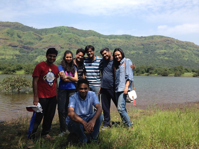 Thomas (front) on an outing with his lab at Mulshi near Pune