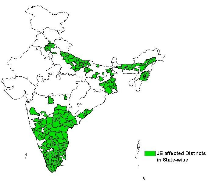 JE affected districts in India