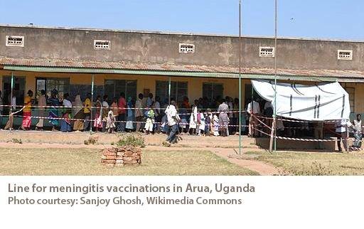 Line for meningitis vaccine in Arua, Uganda