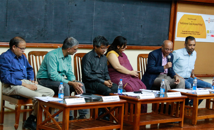 Panelists discussing institutional policies for open access.