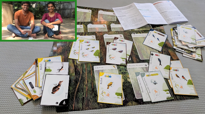 Flocks! - a card game developed by Priti and Prasad (inset)